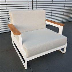 ICM garden lounge lounge lounge Sillón Cassis de teca de aluminio blanco de 1 plaza