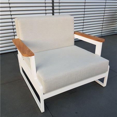 ICM Gartenlounge Loungemöbel Cassis Aluminium Teak weiß 1Sitzer Sessel