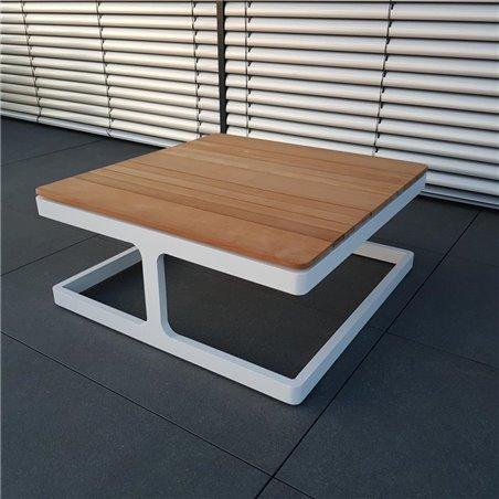 ICM mesa de jardín mesa de salón muebles de jardín Cassis aluminio teca blanca pequeña mesa de esquina