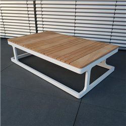 ICM mesa de jardín mesa de salón muebles de jardín Cassis aluminio teca mesa grande blanca