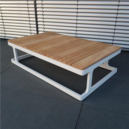 ICM Gartentisch Loungetisch Gartenmöbel Cassis Aluminium Teak weiß großer Tisch