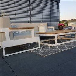 Gartenlounge Gartenmöbel Cassis Aluminium Teak weiß