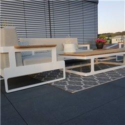 jardín lounge muebles de jardín Cassis aluminio Teca blanco