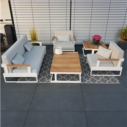 garden lounge garden furniture lounge set Cassis aluminium Teak white