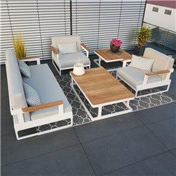 ICM Gartenlounge Gartenmöbel  Cassis Aluminium Teak weiß