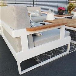 ICM garden lounge muebles de jardín aluminio Cassis aluminio teca reposabrazos blanco