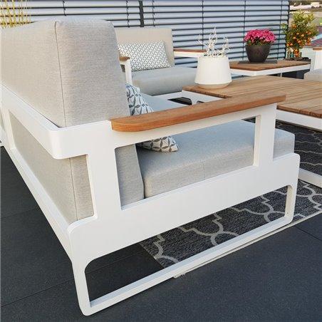 ICM garden lounge garden furniture aluminium Cassis aluminium Teak white armrest