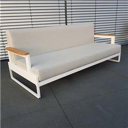Salón de jardín ICM muebles de exterior Cassis aluminio Teca blanco
