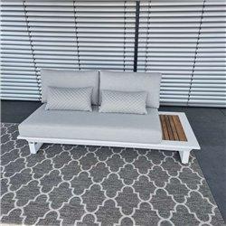 ICM garden lounge furniture Cannes aluminium Teak white 2 seater