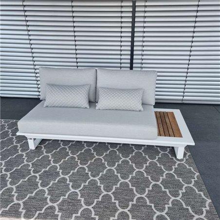 Muebles de salón de jardín ICM Cannes aluminio Teca blanco 2 plazas