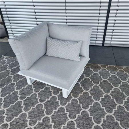 Muebles de salón de jardín ICM Cannes aluminio Teca blanco 2 plazas respaldo