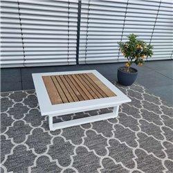 ICM mesa de jardín mesa de salón muebles de jardín Cannes aluminio teca mesa grande blanca