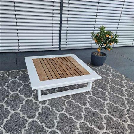 ICM garden table lounge table garden furniture Cannes aluminium Teak white large table
