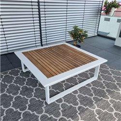 Muebles de salón de jardín ICM Cannes aluminio Teca blanco 1 plazas