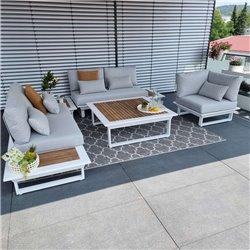 garden lounge garden furniture lounge set Cannes aluminium Teak white