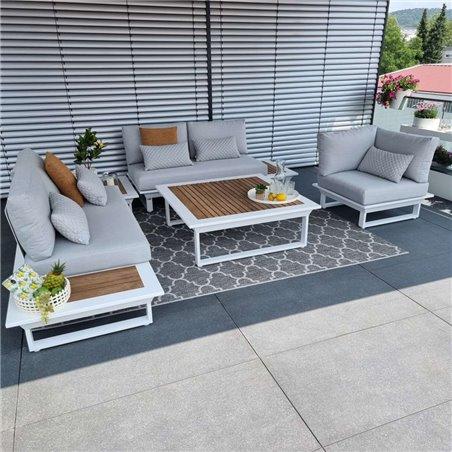 garden lounge garden furniture lounge set Cannes aluminium Teak white Lounge module set