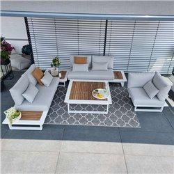 ICM garden lounge muebles de jardín Cannes aluminio teca blanco Conjunto de módulos lounge