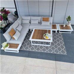 ICM garden lounge outdoor furniture Cannes aluminium Teak white