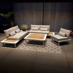 ICM garden lounge muebles de exterior Cannes aluminio Teca blanco Conjunto de módulos lounge