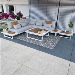 salon de jardin salon de jardin Cannes aluminium teck blanc Ensemble de modules de salon