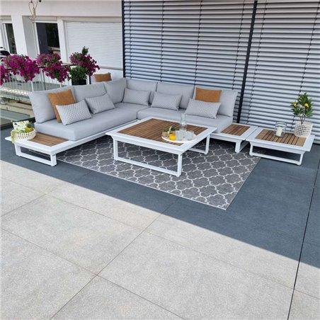 garden lounge garden furniture Cannes aluminium Teak white Lounge module set