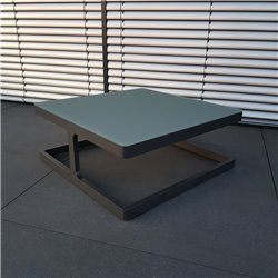 ICM Gartentisch Loungetisch Gartenmöbel Marseille Aluminium  Anthrazit kleiner Tisch Ecktisch Kaffeetisch