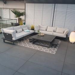 Salon de jardin salon de jardin Menton aluminium module rond d'angle anthracite luxe exclusif extérieur