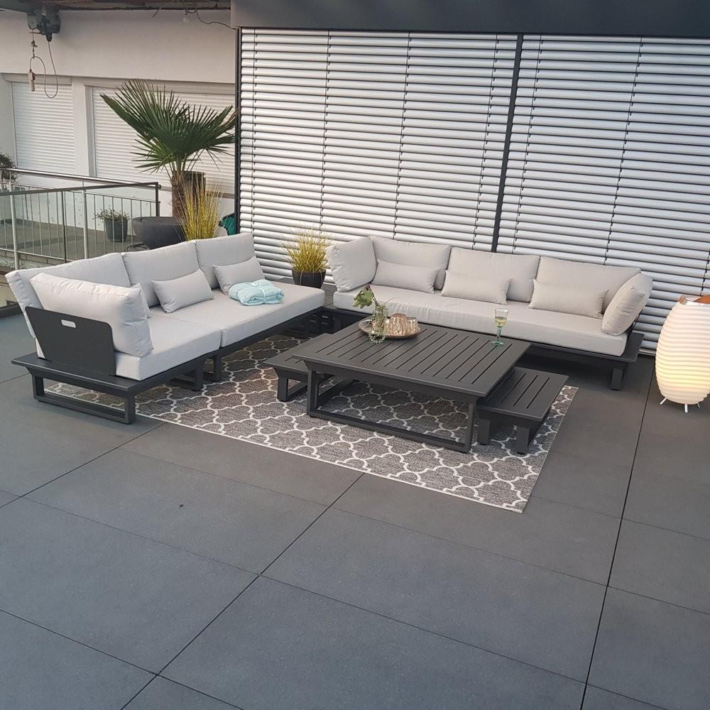 Gartenlounge Set Gartenmöbel Menton Aluminum Anthrazit Rundecke Modul Luxus exclusiv outdoor