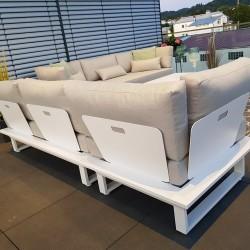 ICM garden lounge furniture Menton aluminium white 3 seater back