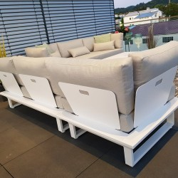ICM garden lounge furniture Menton aluminium white 3 seater back