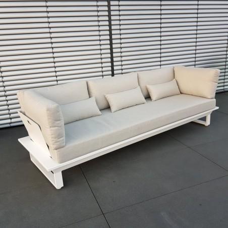 ICM Gartenlounge Loungemöbel Menton Aluminium weiß 3 Sitzer Lounge sofa
