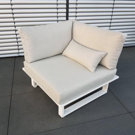 Muebles de salón de salón de jardín ICM Menton aluminio blanco 1 asiento sillón jardín resistente a la intemperie módulo