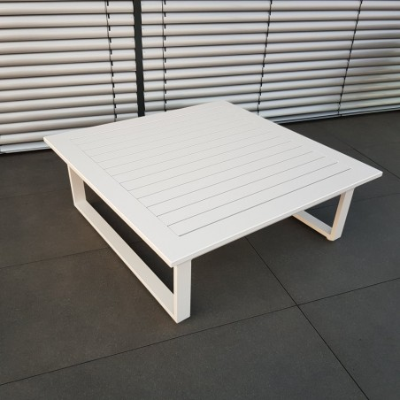 ICM mesa de jardín mesa de salón muebles de jardín Menton aluminio blanco mesa grande resistente a la intemperie al aire libre