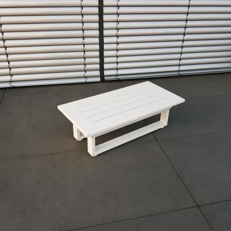 ICM Gartentisch Loungetisch Gartenmöbel Menton Aluminium weiß klein Eckstisch Tisch