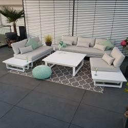 ICM garden lounge garden furniture Menton aluminum white lounge furniture lounge set round corner sofa Lounge module set