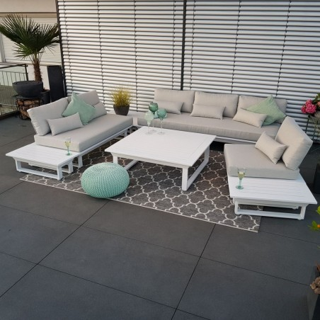 ICM Gartenlounge Gartenmöbel  Menton Aluminium weiß Loungemöbel Lounge set Rundecke sofa Lounge Modul Set