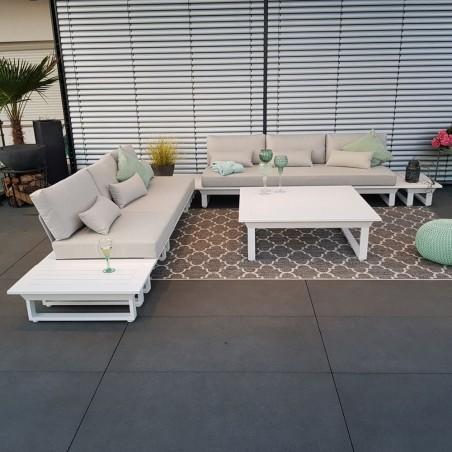 Muebles de exterior de salón de jardín ICM Módulo de muebles de salón blanco de aluminio Menton aluminio lujo
