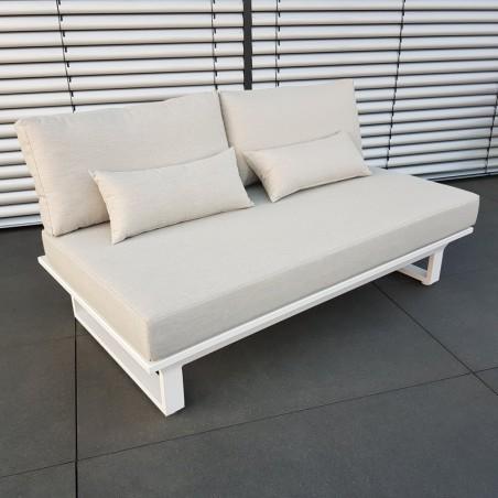 ICM garden lounge lounge furniture Módulo de 2 plazas de aluminio blanco de St. Tropez
