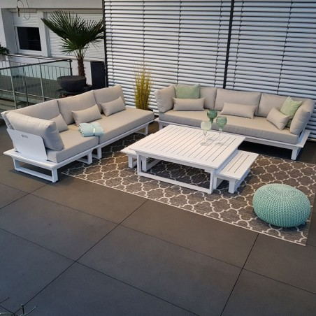 Gartenlounge Gartenmöbel  Lounge Set St. Tropez Aluminium weiß Modul outdoor sofa