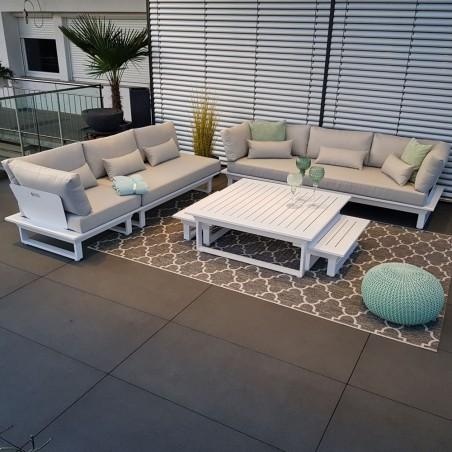 Salón de jardín muebles de jardín conjunto de salón Sofá de exterior de módulo blanco de aluminio de St. Tropez
