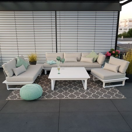 ICM garden lounge muebles de jardín St. Tropez aluminio blanco módulo exterior resistente a la intemperie