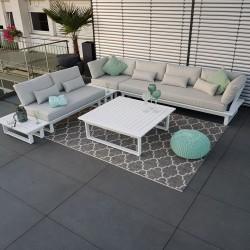 Salón de jardín muebles de jardín conjunto de módulo de salón blanco de aluminio de St. Tropez sofá exterior esquina redonda