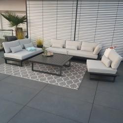 Salon de jardin Mobilier de jardin St.Tropez Aluminium anthracite module d'angle rond luxe exclusif extérieur alu