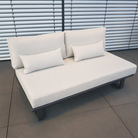 Salón de jardín ICM muebles de salón St. Tropez aluminio antracita Sofá 2 plazas modular salón exterior modular