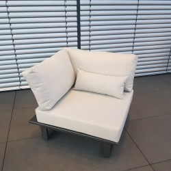 ICM garden lounge lounge furniture Módulo de sillón de 1 asiento de aluminio antracita St. Tropez