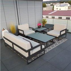 Garden lounge set Marseille antracita 3-2-1 aluminio resistente a la intemperie lujo exclusivo