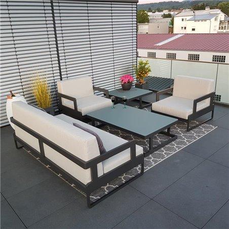 Garden lounge set Marseille anthracite 3-2-1 aluminum weatherproof exclusive luxury