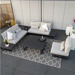 ICM salon de jardin mobilier d'extérieur Grenoble module aluminium anthracite set de luxe mobilier de jardin