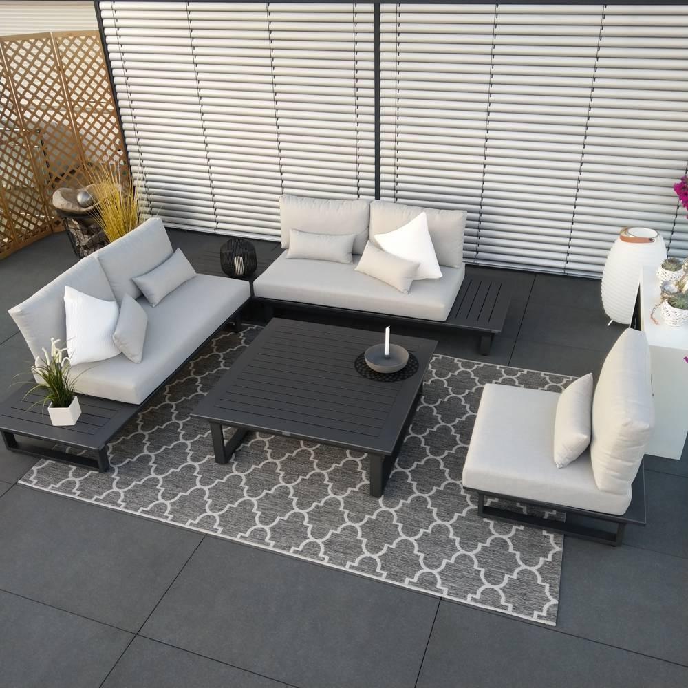 ICM garden lounge muebles de exterior Grenoble módulo de aluminio antracita conjunto de lujo muebles de jardín