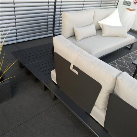 ICM garden lounge patio furniture Grenoble aluminium alu anthracite respaldo módulo conjunto
